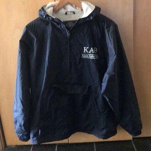 Kappa Alpha Theta Small 1/4 zip lined coat blue